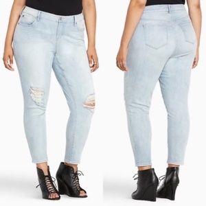 Torrid | Distressed Light Wash Girlfriend Jeans 16